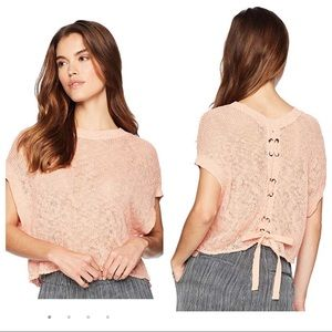 Jack BB Dakota Nadia crochet sweater lace up back